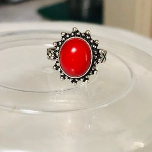 Red Coral Ring Size 6